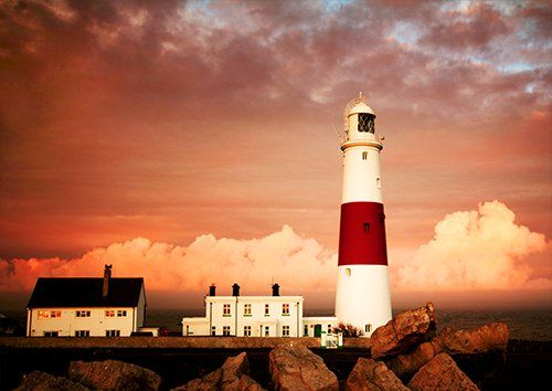Portland lighthouse sky landscape, Black colour - From £17.50   Metal Plate Pictures