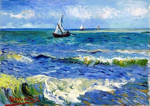 Post Impressionism Blue painting seascape, Black colour - From £17.50   Metal Plate Pictures