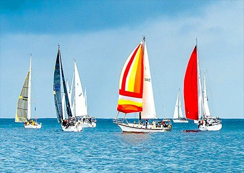 Sailboats Race Yachts 2, Black colour - From £17.50 | Metal Plate Pictures
