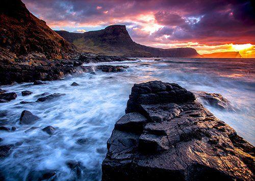 Sea coastline rocks sky landscape, Black colour - From £17.50 | Metal Plate Pictures