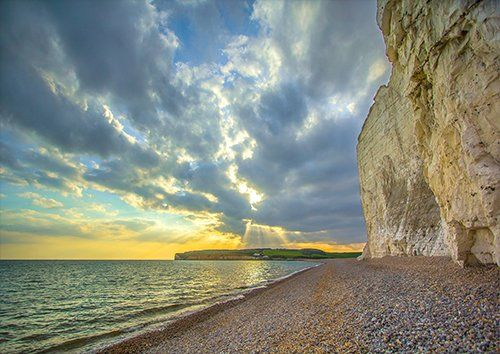 Seven sisters Cliff Beach Coast- UK seascape, Black colour - From £17.50 | Metal Plate Pictures
