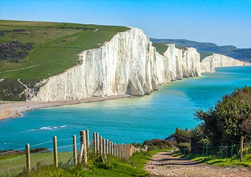 Seven sisters UK England, Black colour - From £17.50 | Metal Plate Pictures