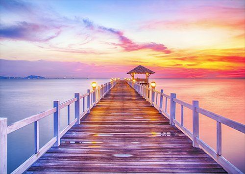 Sunset-pier, Black colour - From £17.50 | Metal Plate Pictures