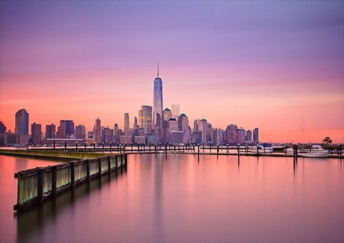 Sunset Sunrise over Manhattan New York, Black colour - From £17.50 | Metal Plate Pictures
