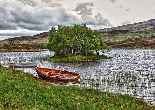 Water Boat Rowing Boat Scotland seascape, Black colour - From £17.50 | Metal Plate Pictures