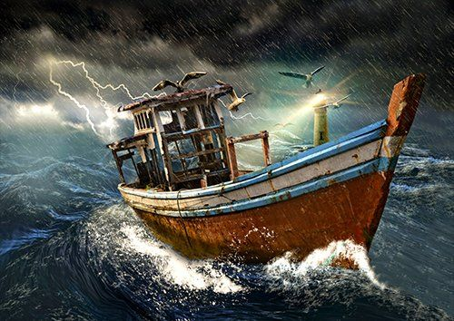 Old boat in storm, Black colour - From £17.50   Metal Plate Pictures