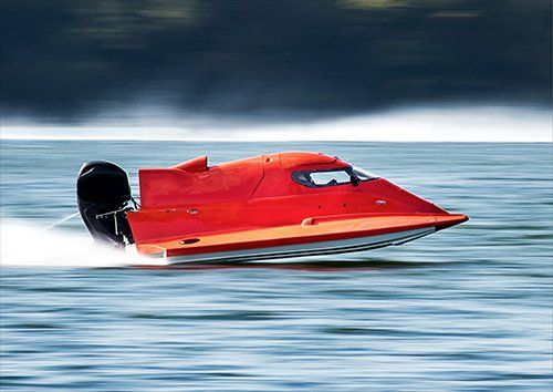 Powerboat red, Black colour - From £17.50 | Metal Plate Pictures