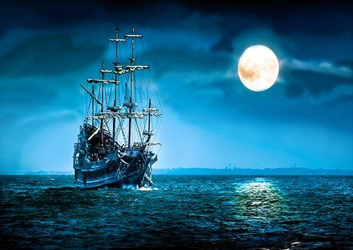 Ship Night full moon, Black colour - From £17.50   Metal Plate Pictures