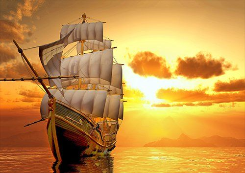 Ship sunset yellow orange, Black colour - From £20.50 | Metal Plate Pictures
