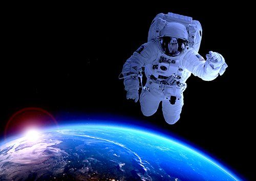 Astronaut flying in space, Black colour - From £20.50 | Metal Plate Pictures