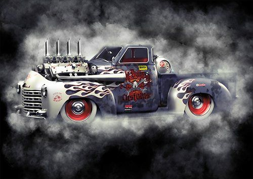 American muscle hot rod car chevrolet 3100 Smoke, Black colour - From £17.50 | Metal Plate Pictures