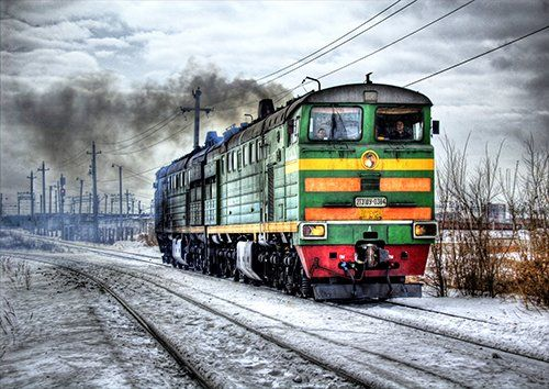 Locomotive snow trains, Black colour - From £20.50 | Metal Plate Pictures