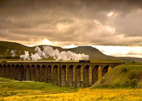 Ribblehead viaduct Steam Train Jerico, Black colour - From £17.50 | Metal Plate Pictures