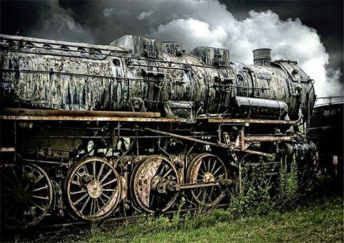 Steam train graveyard Locomotive Train, Black colour - From £20.50 | Metal Plate Pictures