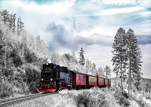 Steam train in the winter, Black colour - From £17.50 | Metal Plate Pictures