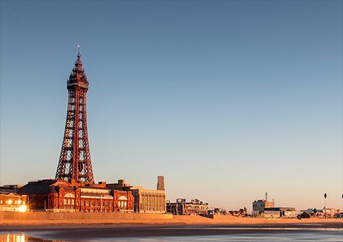 Blackpool tower beach uk, Black colour - From £17.50 | Metal Plate Pictures