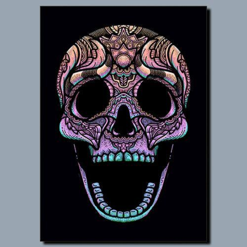 Rainbow Skull, Sandy\Brown\Blue\Mix colour, X-Large A1 24x36Inch size - From £17.50   Metal Plate Pictures